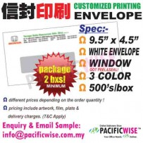 "CUSTOMIZED PRINTING White Envelope Window 9.5""x4.5""3color@2bxs!"