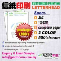 CUSTOMIZED PRINTING Letter HeadA4(100gsm Conqueror)2color@1000's