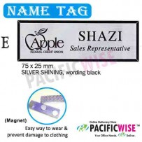Name Tag (E)-silver shining, wording black