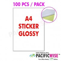 A4 Sticker Label 1 up (160gsm) 100's/pkt Glossy