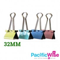 COLOUR - DOUBLE CLIP 32MM(12PCS/PKTS)