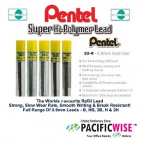 PENTEL PENCIL LEAD HI-POLYMER 0.9MM 2B (12tubes)